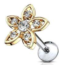 MoBody 16G CZ Jeweled Flower Top Labret Piercing Surgical Steel Internally Threaded Monroe Lip Ring Helix Earring