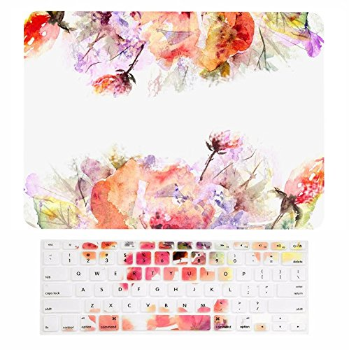 """TOP CASE - 2 in 1 Signature Bundle Floral Reflection Pattern Matte Hard Case + Keyboard Cover Compatible MacBook Pro 15"""" with Retina Display (Release 2012-2015) A1398 – Red Flowers Reflection"""