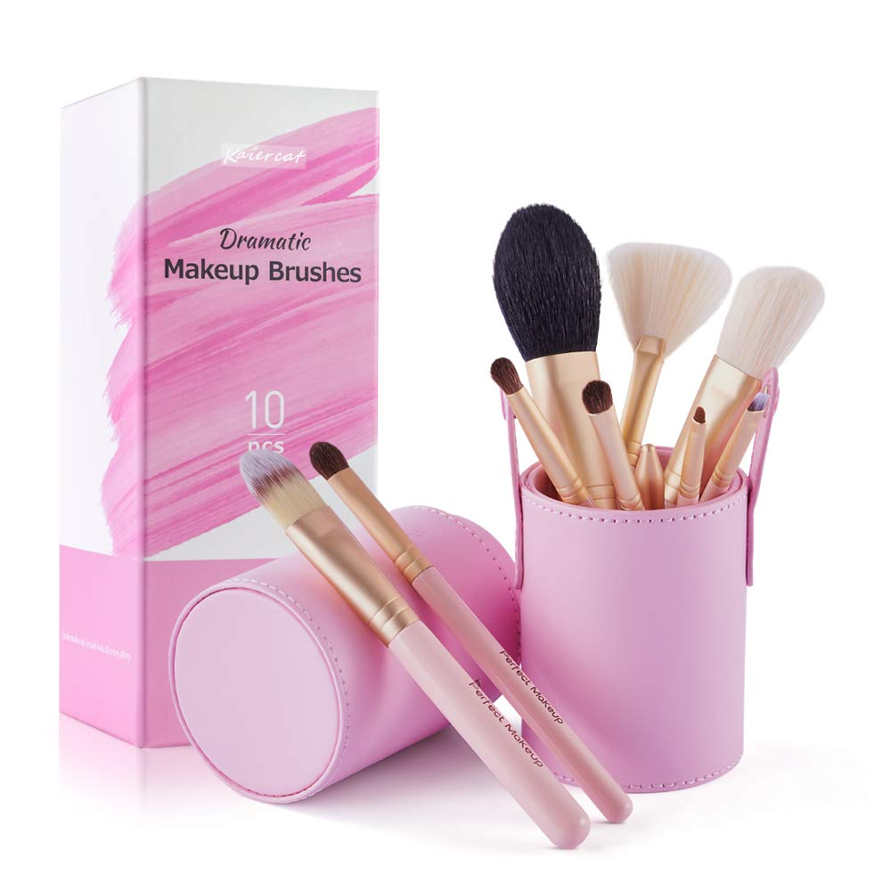 Travel Makeup Brush Set - Natural Goat Hair Synthetic Cosmetic Brushes with Gift Holder Foundation Powder Contour Eye Shadow Concealer Blending Brush Kit 10 Pcs