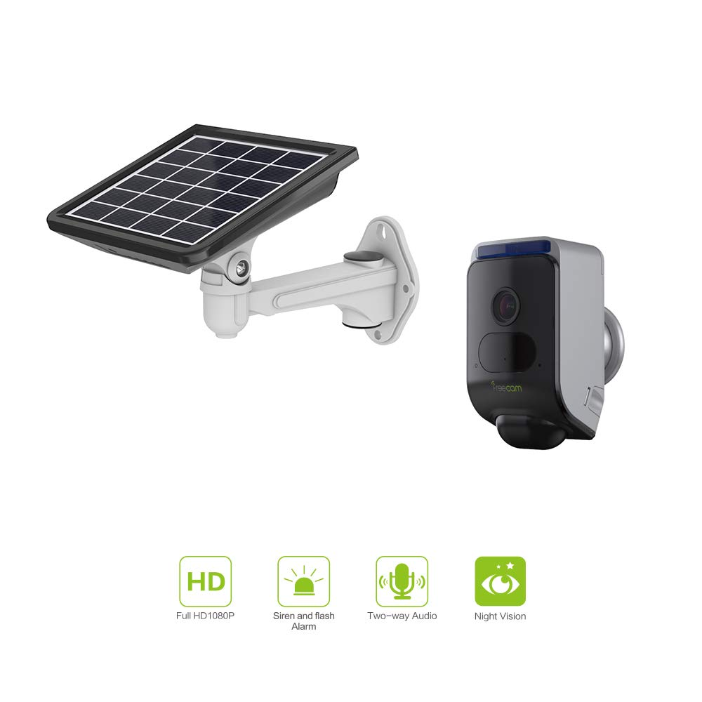 Freecam Wireless Rechargeable Solar Powered Security Camera with Auto Siren and Flash Alarm,Outdoor Surveillance WiFi Camera,Two-Way Talk,Motion-Activated and Night Vision with Solar Panel C390S