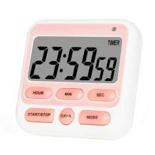Brisica Digital Kitchen Timer, ON/Off Switch, 12/24 Hour Clock and Silent Timers, Count Up & Count Down for Kids Teachers Cooking Games Office, Large LCD Display, Loud Alarm and Strong Magnet (Pink)
