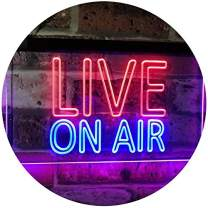 """ADVPRO On Air Live Recording Studio Video Room Dual Color LED Neon Sign Red & Blue 24"""" x 16"""" st6s64-i3064-rb"""