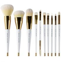 Brush Master 10 Pcs Professional Vitamin-C Synthetic Hair Kabuki Makeup Brushes Set for Foundation Blending Blush Concealer Eye Face Liquid Powder Cream Cosmetics Brush Kit Golden