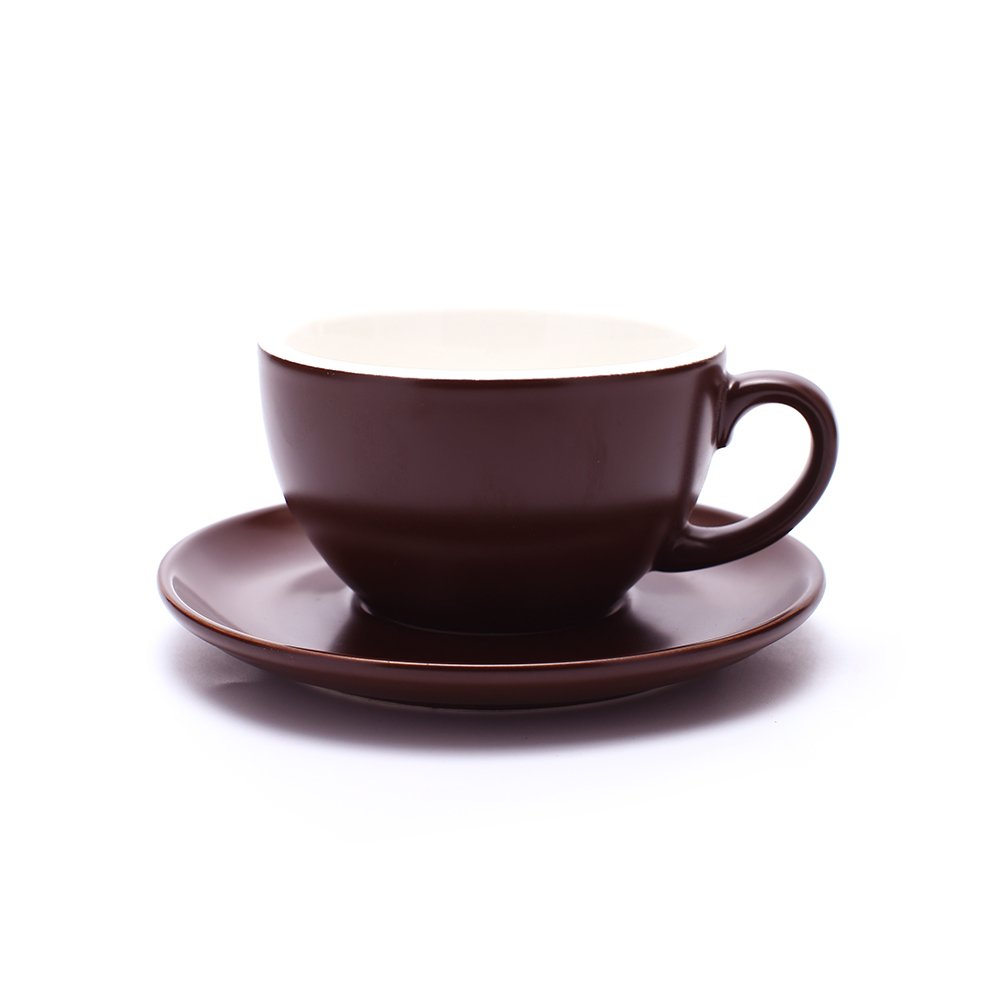Coffeezone Latte Art Cup and Saucer Cappuccino & Americano, New Bone China, Mate for Coffee Shop and Barista (Matte Brown, 8.5 oz)