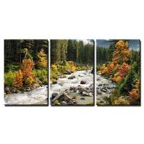 """wall26 - 3 Piece Canvas Wall Art - Beautiful Colorful Landscape with a Stream and Forest in Autumn Colors - Modern Home Decor Stretched and Framed Ready to Hang - 24""""x36""""x3 Panels"""