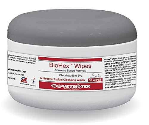 VetBioTek BioHex Chlorhexidine and MicroSilver Cleansing Wipes for Hot Spots and Skin Folds on Dogs and Cats (50 Count)