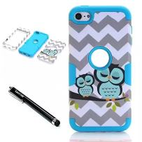 iPod Touch 6th Generation Case,Lantier 3 Layers Verge Hybrid Soft Silicone Hard Plastic TUFF Triple Quakeproof Drop Resistance Protective Case Cover with Stylus Waves Owl/Blue