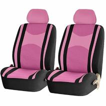 U.A.A. INC. Mesh Honeycomb Front Low Back Seat Covers Set (Pink Black)