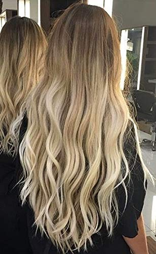 Hetto Balayage Topper Hair Pieces for Woman 13x13 CM 100% Real Human Hair Silk Base Clip in Hair Topper Brown #6 Ombre to Bleach Blonde #613 10 Inch