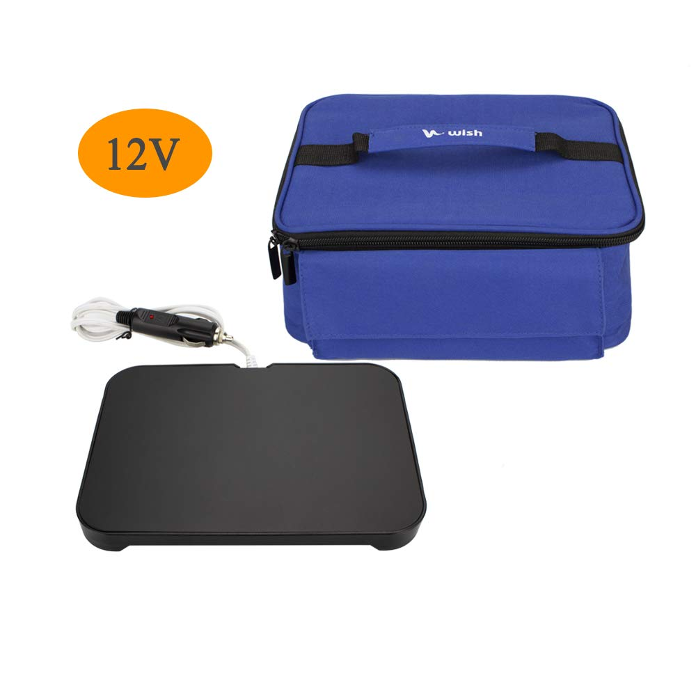 WISH Mini Portable Oven 12V Personal Food Warmer with Lunch Bag for Prepared Meals Reheat, Perfect for Car Camping - Blue
