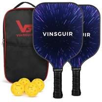 Vinsguir Pickleball Paddle - 2 Premium Graphite Rackets Honeycomb Composite Core with Cushion Comfort Grip & 4 Balls & Portable Racquet Bag (Fantasy Starry Sky+ 3 Outdoor Balls +1 Indoor Ball+ Bag)
