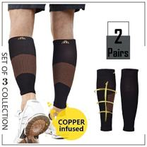 2Pairs Calf Compression Sleeve Copper Compression Calf Sleeve for Women & Men - Support Plantar Fasciitis, Shin Splint, Calf Pain, Stiff Sore Muscle Joints - Guaranteed Relief & Recovery - S/M