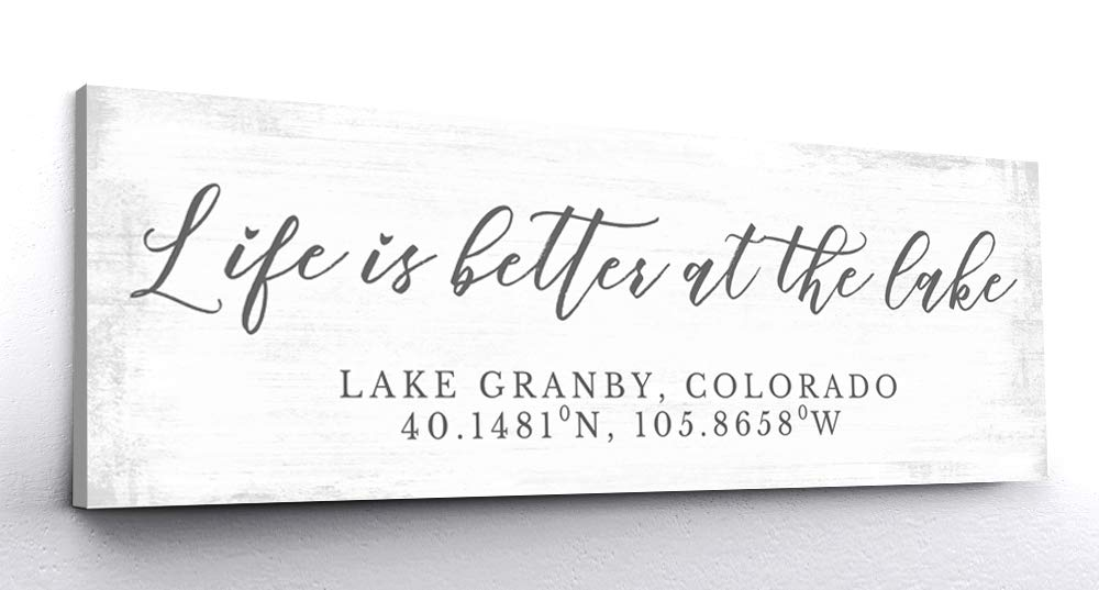 "Pretty Perfect Studio Custom Lake House Sign, Personalized Family Life is Better at The Lake Home Living Room Wall Art Decor on 20"" x 60"" Ready-to-Hang Canvas"
