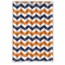 FUNNY KIDS' HOME Navy Deep Blue Orange Chevron- Personalize Custom Bathroom Shower Curtain Waterproof Polyester Fabric 48(w) x72(h) Rings Included