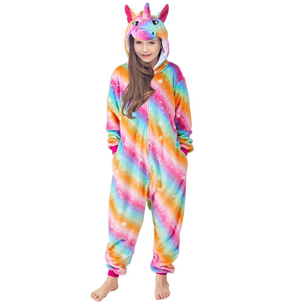 MHJY Kids Animal Hooded Pajamas Soft Fleece Unicorn Sleepwear Christmas Cosplay Costume Gift