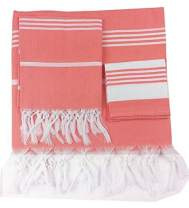 Turkish Pestemal Peshtemal Towel Set - Bath Beach Towel Sarong Gym Spa Sauna Fouta Towel 100% Turkish Cotton- Set Includes One Large Bath Towel One Hand Towel and One Face Towel(Coral Quartz)