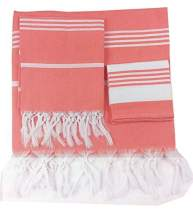 Turkish Pestemal Peshtemal Towel Set - Bath Beach Towel Sarong Gym Spa Sauna Fouta Towel 100% Turkish Cotton- Set Includes One Large Bath Towel One Hand Towel and One Face Towel(Coral Quartz)