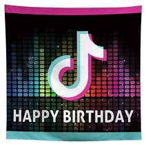 Allenjoy 8x8ft Musical Party Themed Backdrop Supplies for Boys Girls Birthday Celebration Sweet 16th Decorations Fabric Vintage Disco Prom Events Studio Photoshoot Props Favors Photography Background