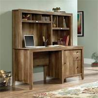 Bowery Hill Sturdy Home Office Computer Desk with Hutch, Drawer, File Cabinet in Craftsman Oak