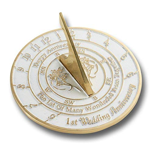 The Metal Foundry First Wedding Anniversary Sundial Gift Idea is A Great Present for Him, for Her Or for A Couple to Celebrate 1 Year of Marriage