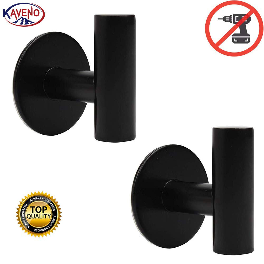 kaveno Bathroom Hook SUS 304 Stainless Steel Single Towel/Robe Clothes Hook for Bath Kitchen Contemporary Hotel Style Wall Mounted 2 Pack (Matte Black SA Self Adhesive)