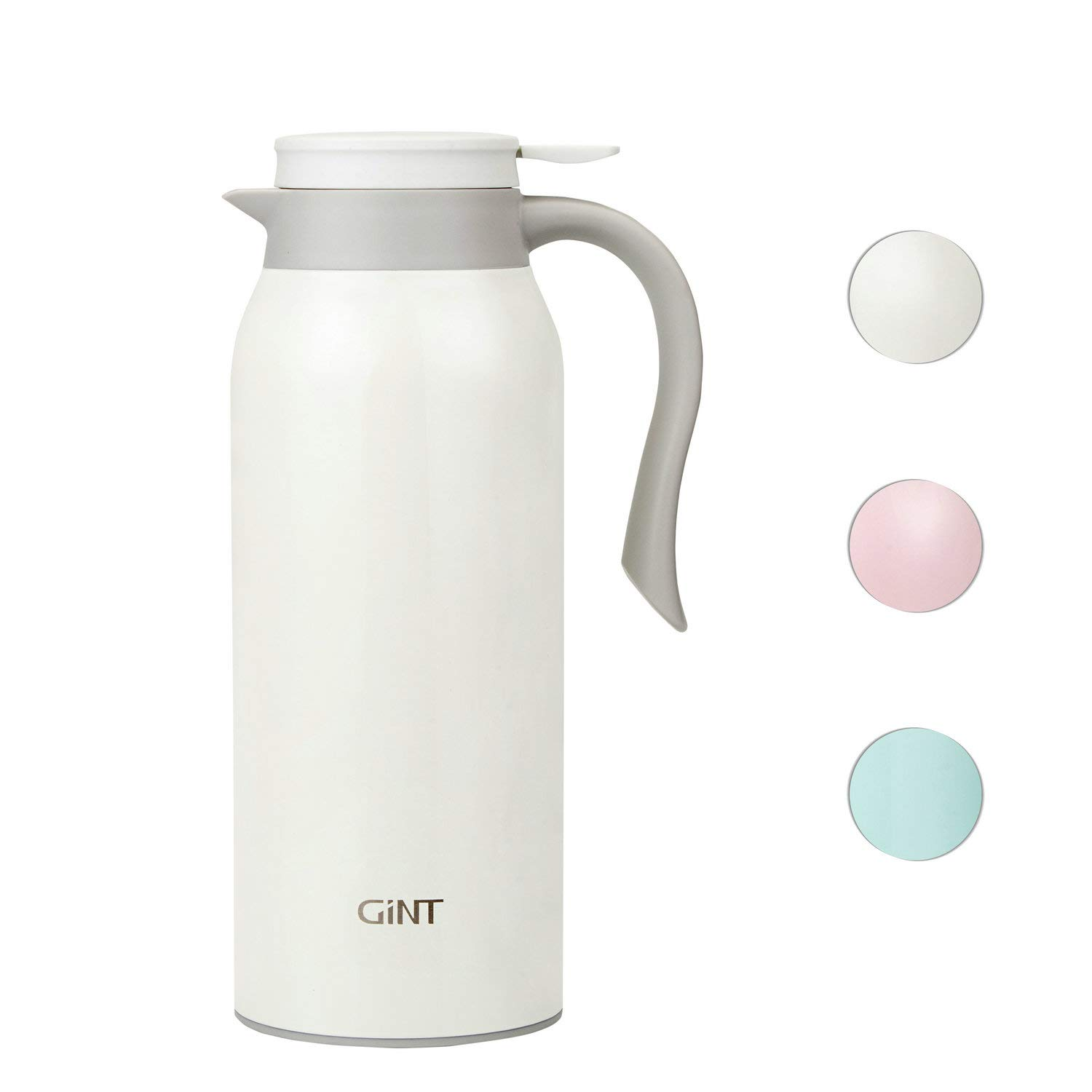 GiNT 51 Oz Stainless Steel Thermal Coffee Carafe, Double Walled Vacuum Thermos, 12 Hour Heat Retention, 1.5 Liter Tea, Water, and Coffee Dispenser, White