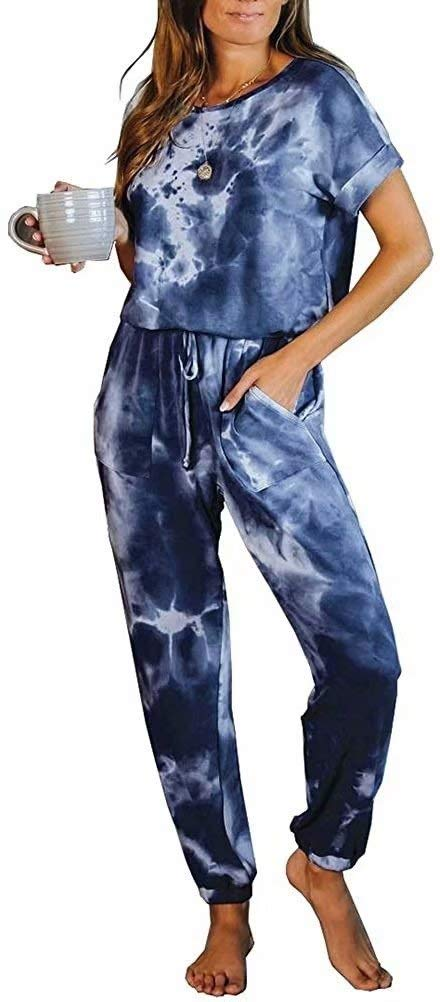 LACOZY Womens Tie Dye Printed One Piece Long Pajamas Keyhole Short Sleeve Casual Jumpsuit Loungewear Nightwear