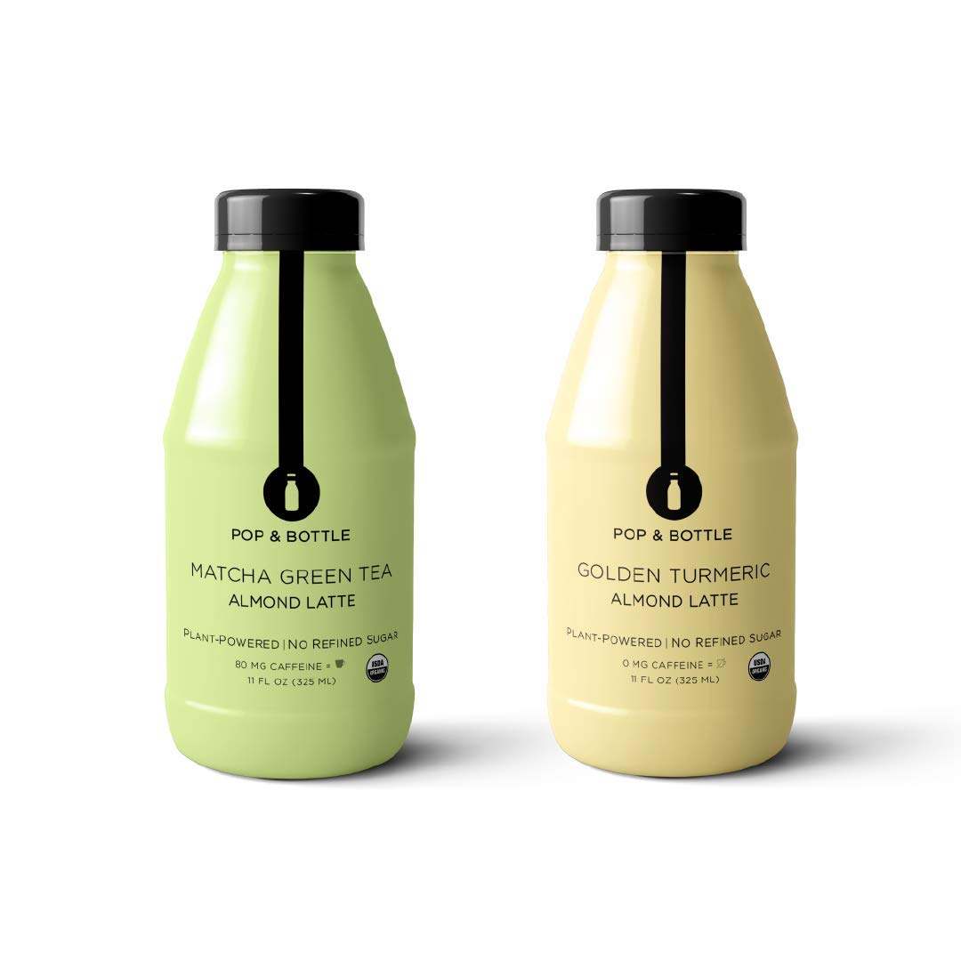 Pop & Bottle Lattes, Matcha and Golden Turmeric Pack, 12 pack, 11oz each (organic, fair trade, plant based, superfood enriched, paleo)