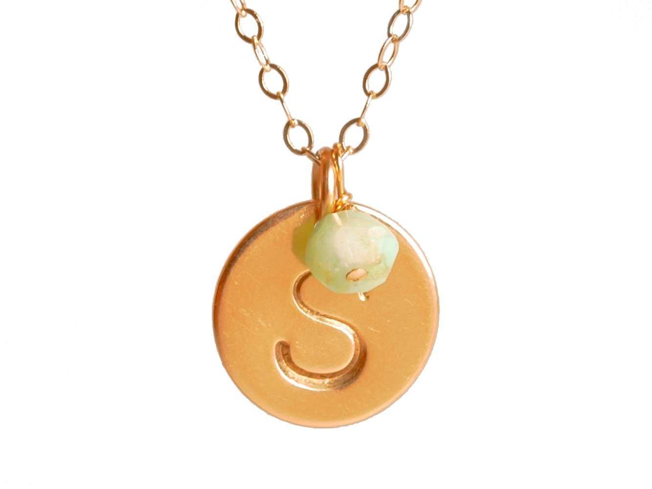 EFYTAL Initial Necklace + Birth Month Charm, Medium Gold Filled Custom 12.7mm Personalized Letter Disc