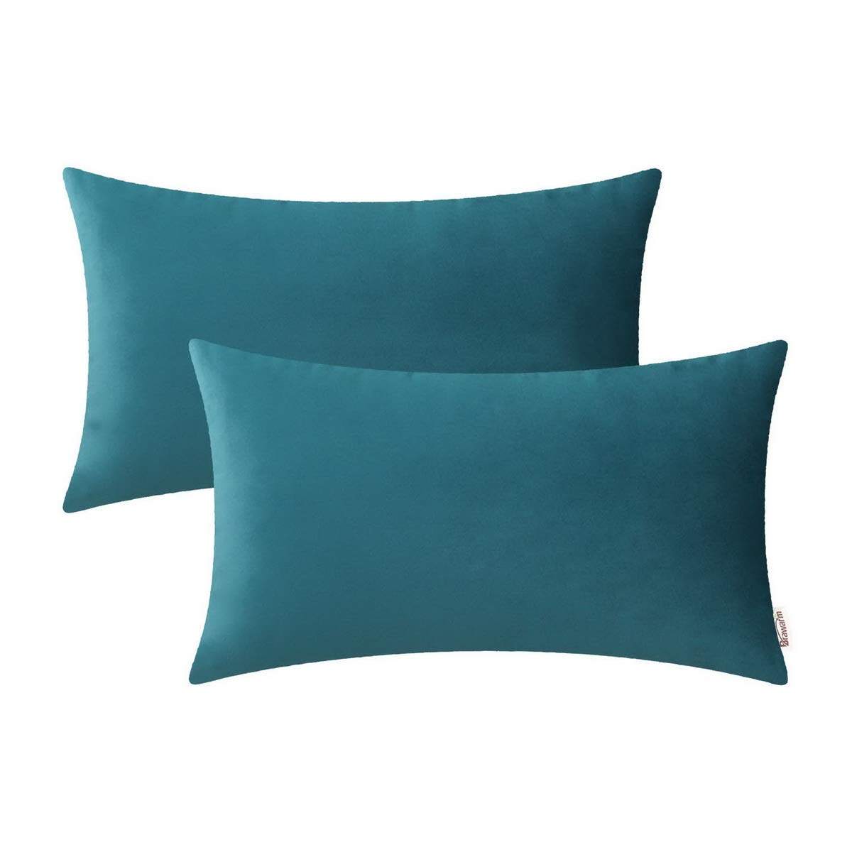 BRAWARM Pack of 2 Cozy Bolster Pillow Covers Cases for Couch Sofa Home Decoration Solid Dyed Soft Velvet Both Sides 12 X 20 Inches Teal
