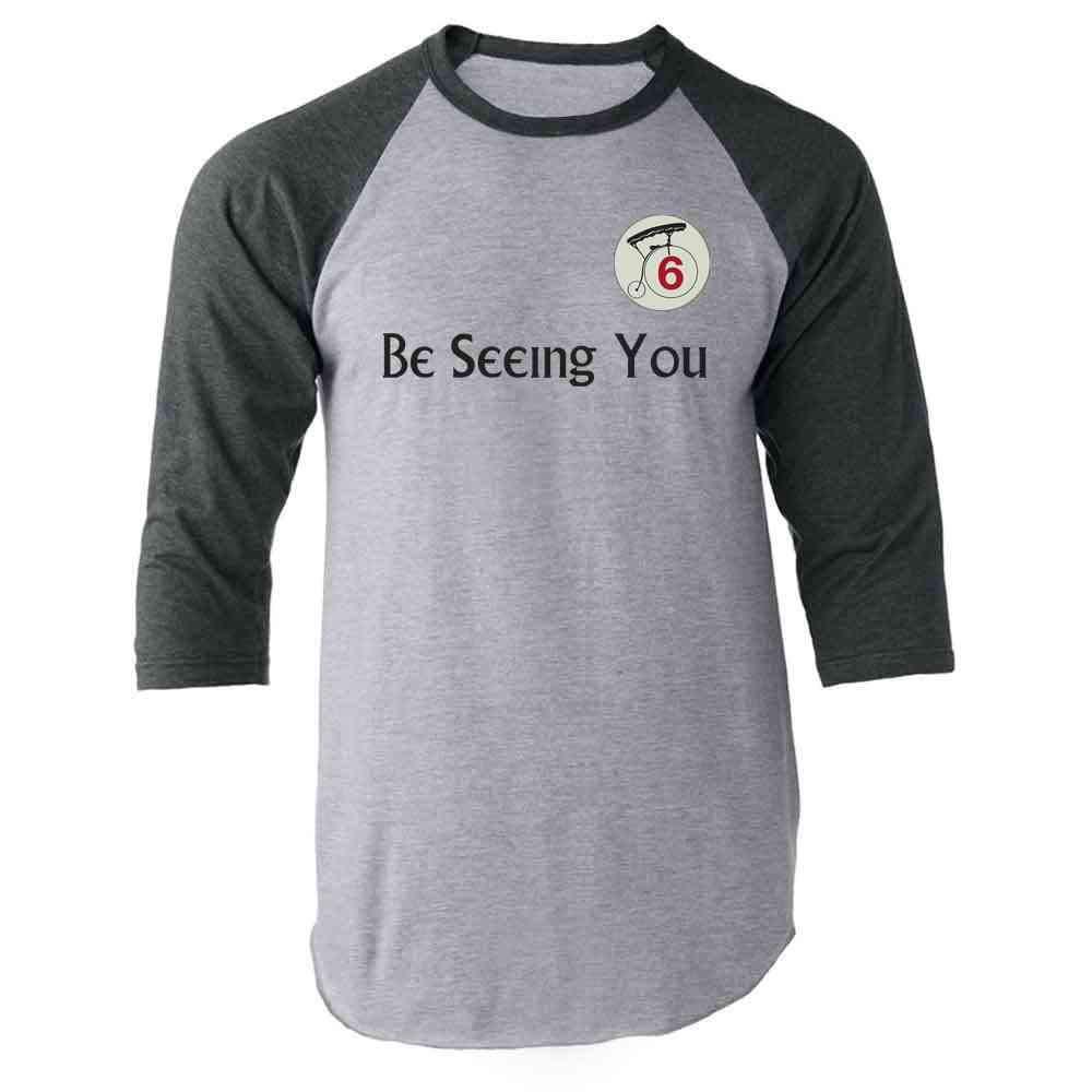 Be Seeing You Number 6 Cult Halloween Costume Raglan Baseball Tee Shirt