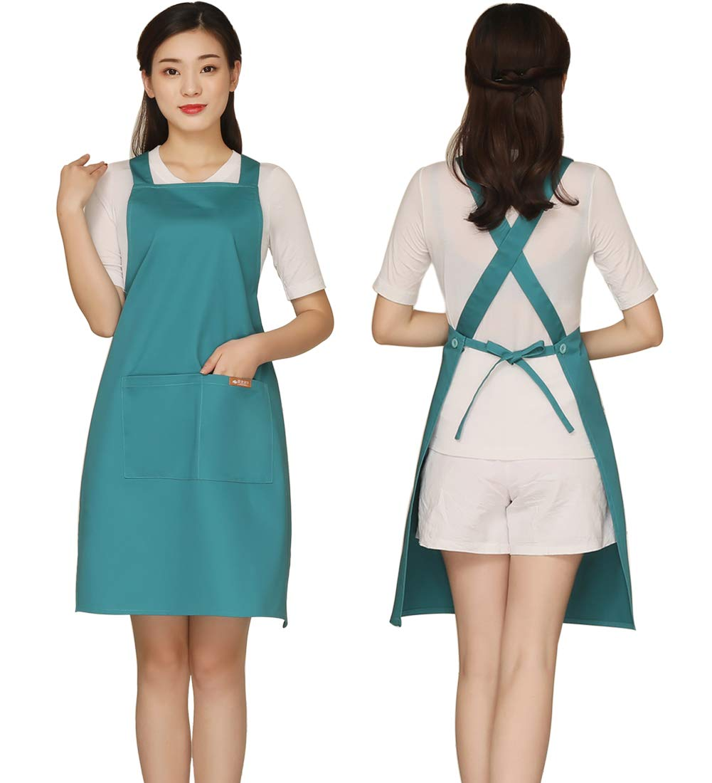 Adjustable Cross Back Bib Aprons with 2 Pockets Cotton for Women,Butcher,Hairstylist Fits for Grill,bbq,Paint Light Green