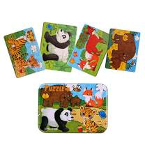 Kids Puzzles for Toddlers 3 Years, 4 in 1 Wooden Jigsaw Puzzles with a Storage Box (Forest Animals)