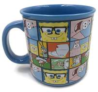 Silver Buffalo Spongebob All Character Grid Ceramic Camper Mugs, 20-Ounce, Blue