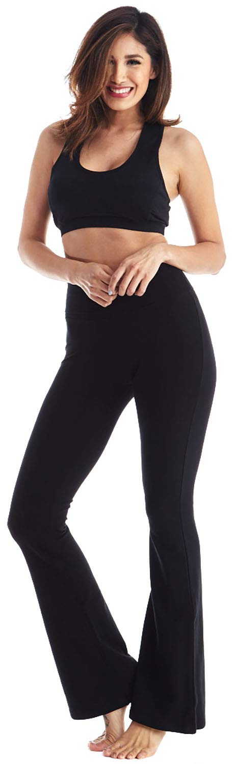 Viosi Yoga Pants for Women Bootcut Fold Over High Waisted Cotton Spandex Lounge Workout Flare Leggings