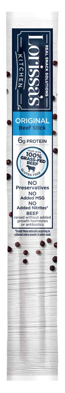 Lorissa's Kitchen Grass-Fed Beef Snack Sticks, Original, 1 oz., Pack of 12 – Made with 100% Grass-Fed Beef, Keto Friendly Snacks, Gluten Free, No Added Nitrites or Nitrates (Packaging May Vary)