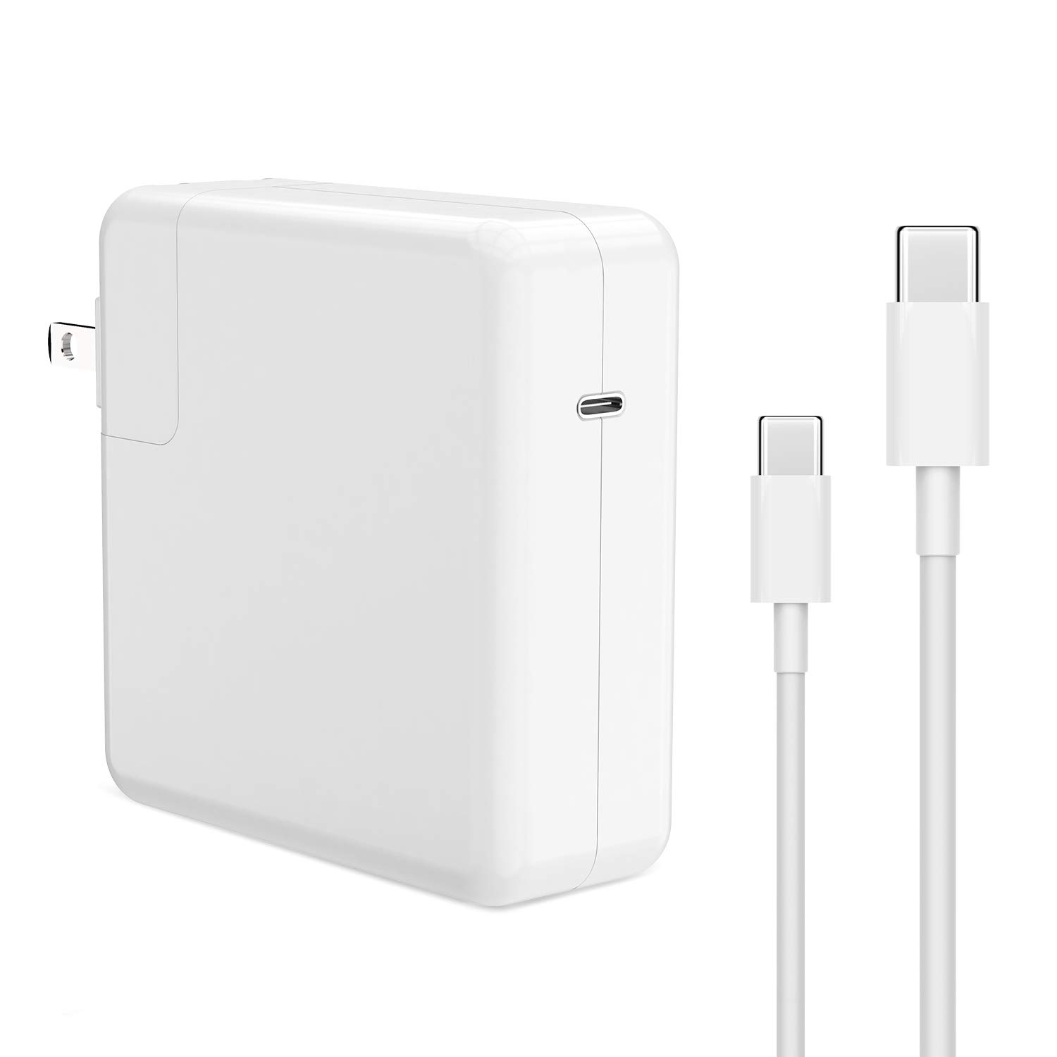61W USB-C Power Adapter, AYNEFF MacBook Pro Charger, Foldable Adapter Compatible with MacBook Pro 13-inch,2018 MacBook Air, 2018 iPad Pro, Tablet with USB-C to USB-C Charging Cable