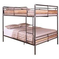 Pemberly Row Queen-Over-Queen Metal Frame Bunk Bed in Sandy Black