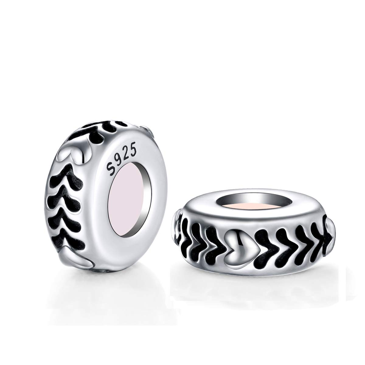 GW 2PCS Spacer Beads Stopper Charms Sterling Silver Charms Safety Beads CZ Bead for Bracelets DIY