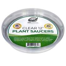 YOUniversal Products 10 Pack of 12 Inch Clear Plastic Plant Saucers for Indoor and Outdoor Plants