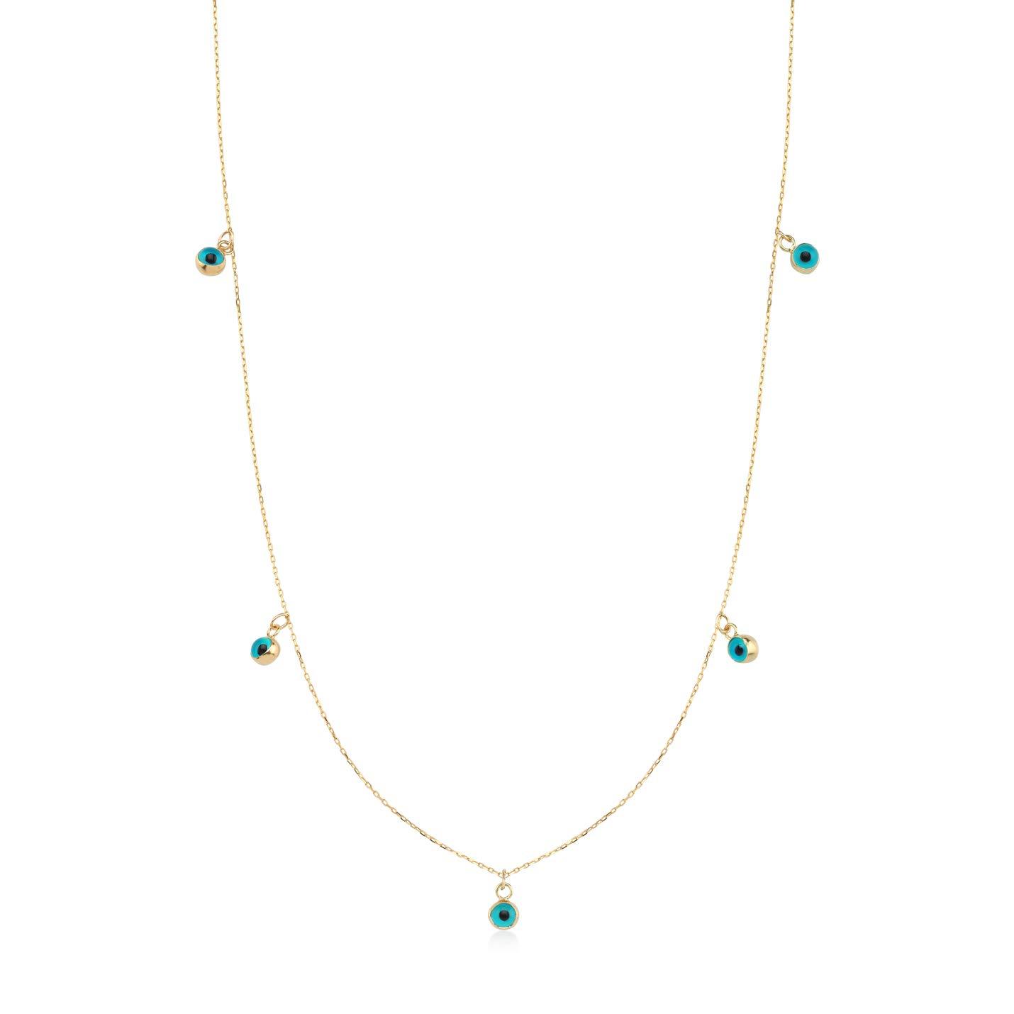 "GELIN 14k Real Gold Station Evil Eye Beaded Pendant Chain Necklace for Women, 18"""