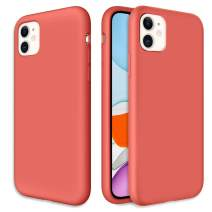 Caka Silicone Case for iPhone 11 Gel Rubber Liquid Silicone Case Soft Slim Girly Luxury Microfiber Cloth Lining Cushion Protective Case for iPhone 11 Inches (Nectarine)