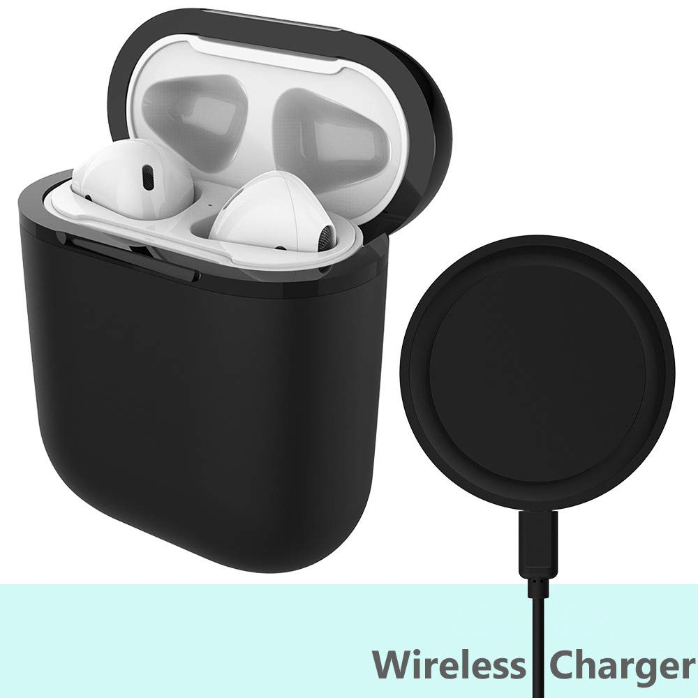 MiiKARE Airpod Wireless Charging Case with Wireless Charging Pad, 2 in 1 Charging & Protection Case Holder (No Original Airpods Charging Case and Earphones Included) (Black)