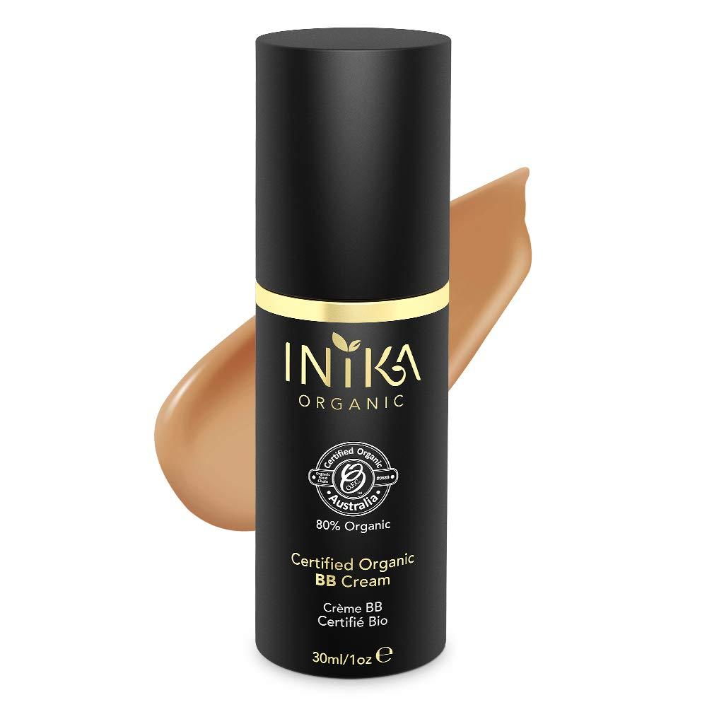 INIKA Certified Organic BB Cream, Vegan, Natural 3 in 1 Silky Primer Moisturizer Foundation, All Natural Make-Up, Hypoallergenic, Dermatologist Tested, Halal, 1 oz (30ml) (Honey)