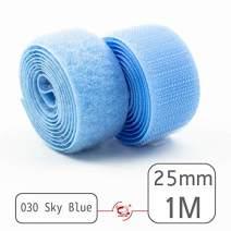 """25mm(1"""") Width 1 Pair Yards Sew-On Hook&Loop Fastener Tape for 12 Colors (#030 Sky Blue)"""