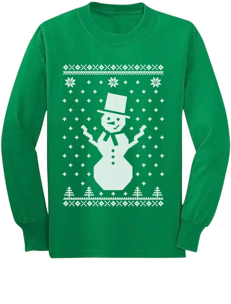 Big Snowman Ugly Christmas Sweater Style Cute Xmas Long Sleeve Kids T-Shirt