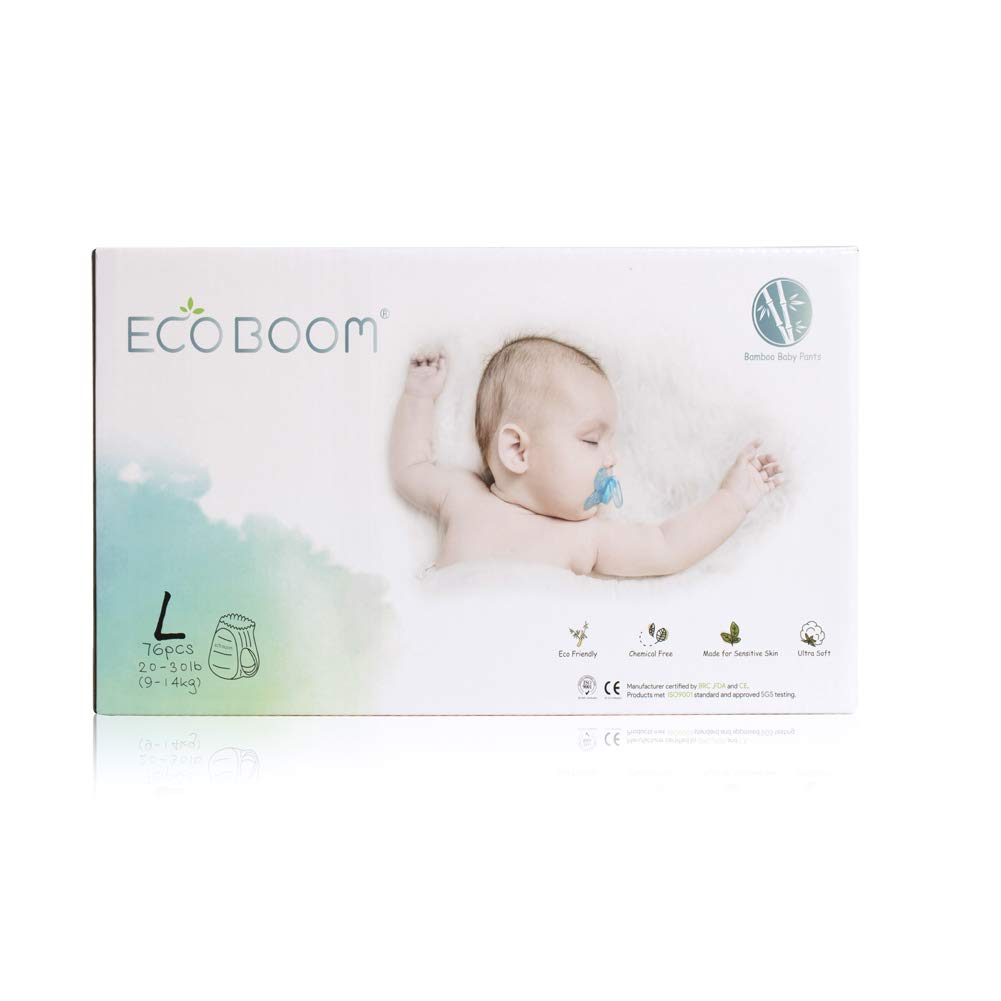 ECO BOOM Bamboo Pull up Diaper New Arrival Biodegradable Disposable Baby Diapers Size L 76Count-Pack Baby Nappies Training Pants