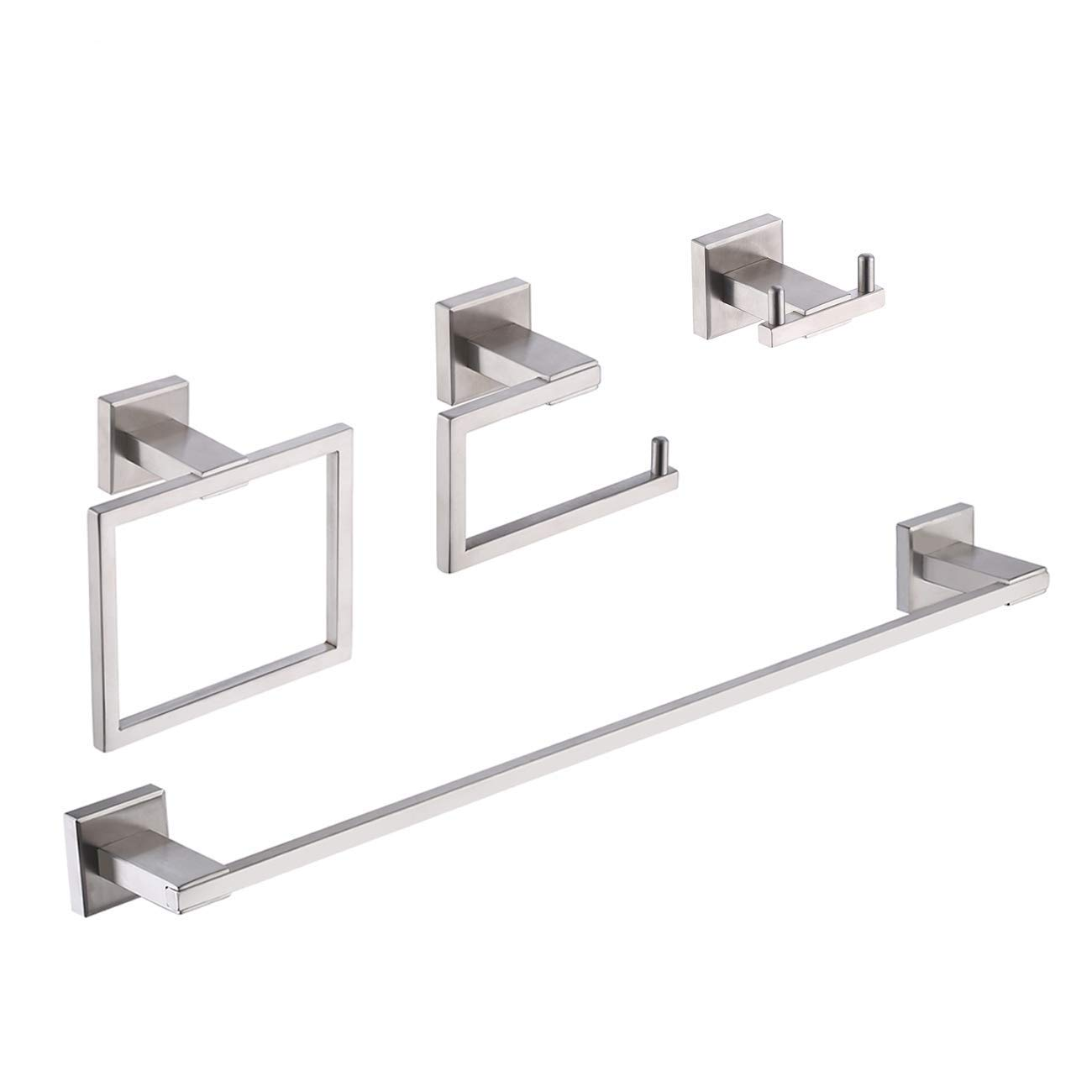 KES 4-Piece Bathroom Accessory Set Including Towel Bar Toilet Paper Holder Towel Ring Double Coat Hook SUS 304 Stainless Steel RUSTPROOF Wall Mount Contemporary Square Style Brushed Finish, LA242DG-42