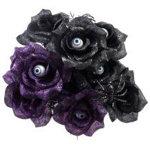Haunted House 6 Stem Black and Purple Rose Bushes with Spiders and Eyeballs 14in (2) (Purple & Black)