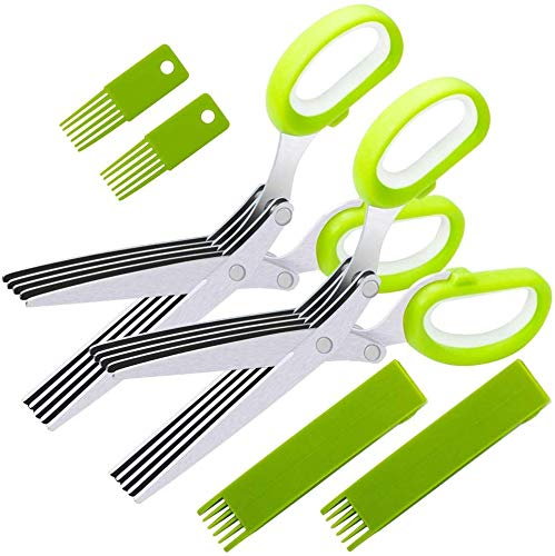 2 Pack Herb Scissors,VIPMOON Multipurpose Kitchen Cutting Shear with 5 Stainless Steel Blades and Safety Cover